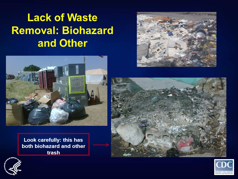 Lack of Waste Removal: Biohazard and Other Look carefully: this has both biohazard and other trash