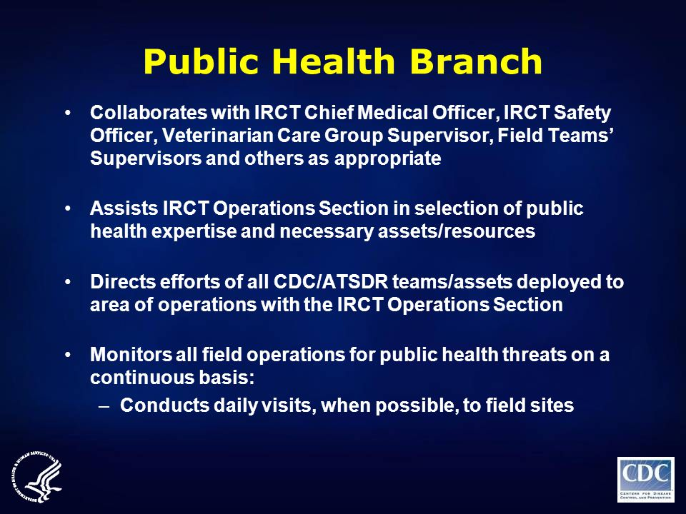 Public Health Branch Collaborates with IRCT Chief Medical Officer, IRCT Safety Officer, Veterinarian Care Group Supervisor, Field Teams' Supervisors a