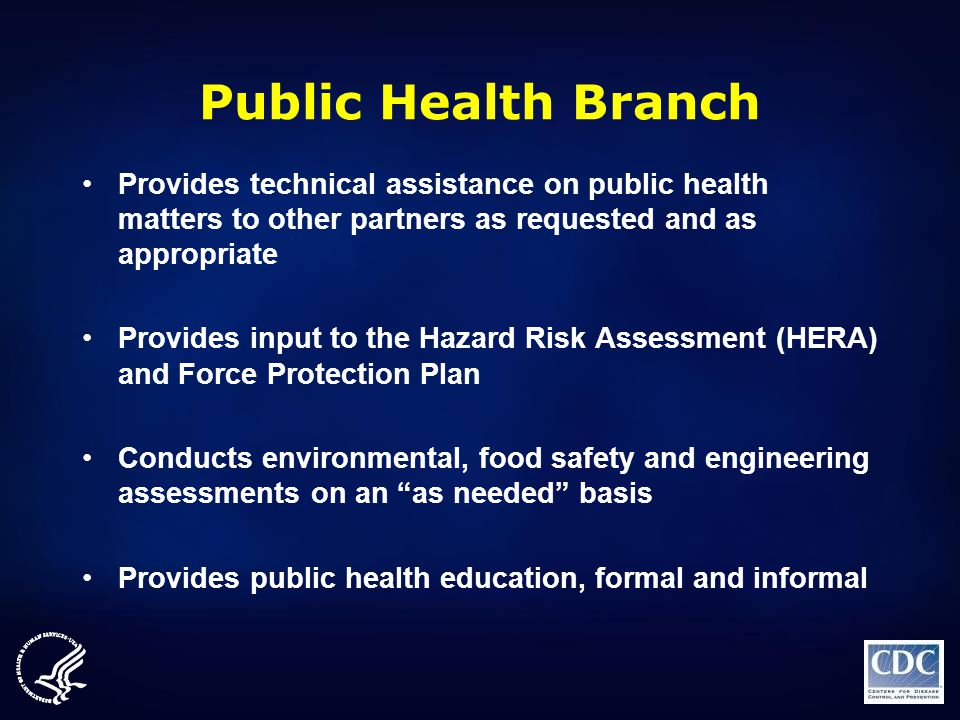 Public Health Branch Provides technical assistance on public health matters to other partners as requested and as appropriate Provides input to the Ha