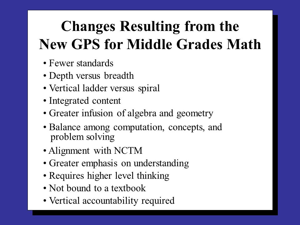 Integrated Math Development of the algebra strand begins in grade 3 and continues through grade 8.