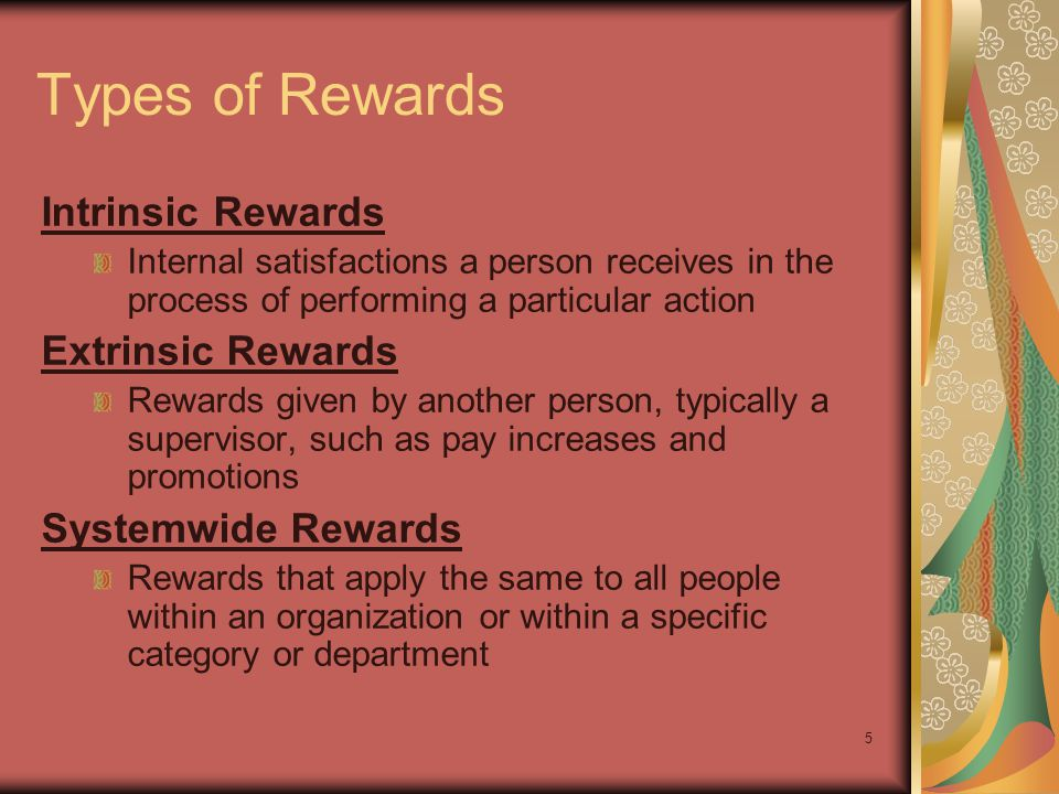 5 Types of Rewards Intrinsic Rewards Internal satisfactions a person receives in the process of performing a particular action Extrinsic Rewards Rewar