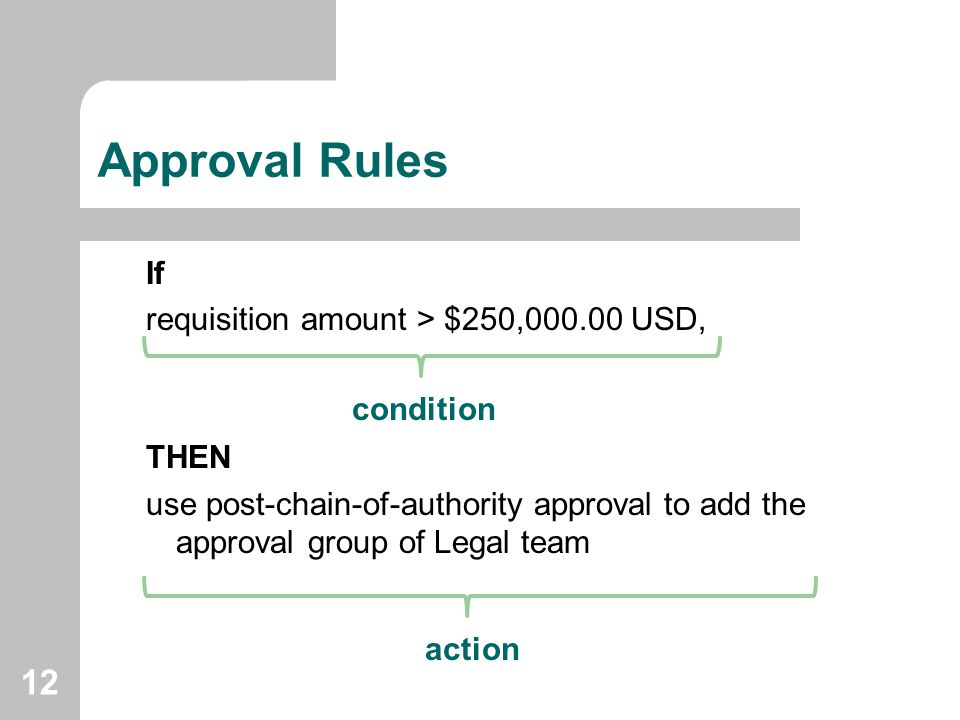 12 Approval Rules If requisition amount > $250,000.00 USD, THEN use post-chain-of-authority approval to add the approval group of Legal team condition