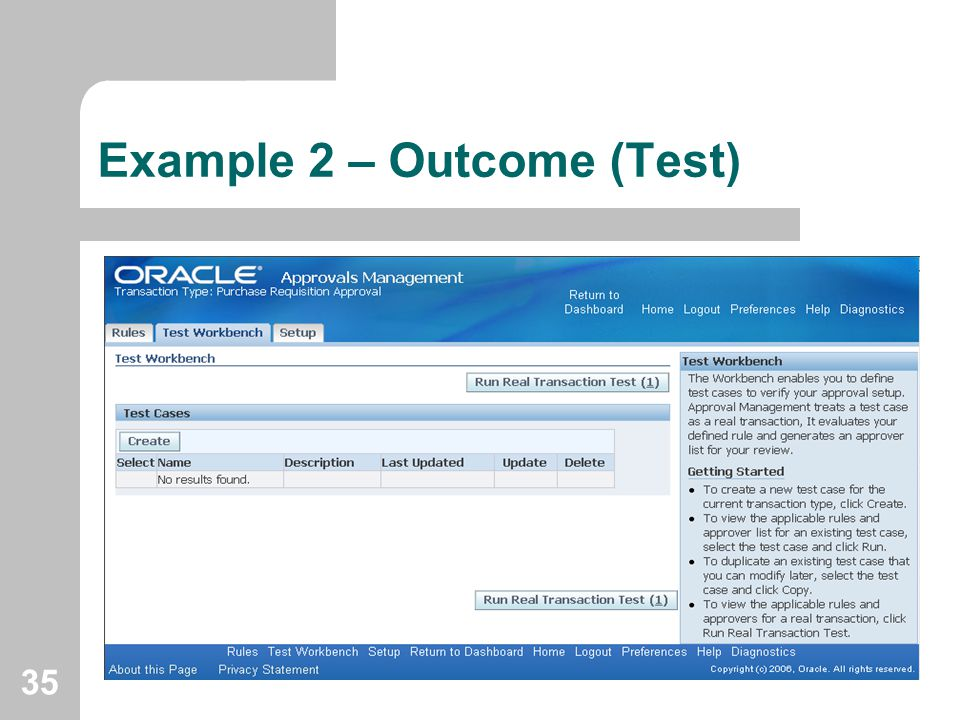 35 Example 2 – Outcome (Test)