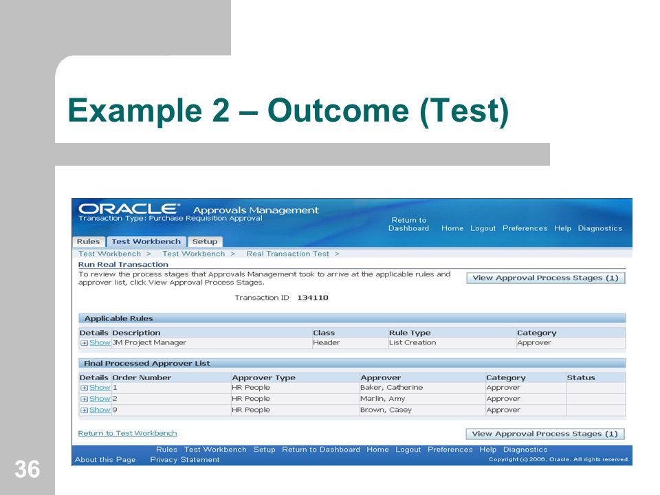36 Example 2 – Outcome (Test)