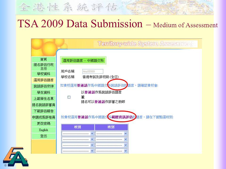 TSA 2009 Data Submission – Medium of Assessment
