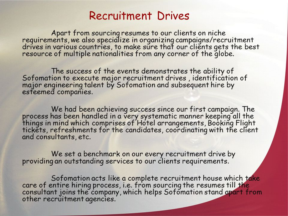 Recruitment Drives Apart from sourcing resumes to our clients on niche requirements, we also specialize in organizing campaigns/recruitment drives in