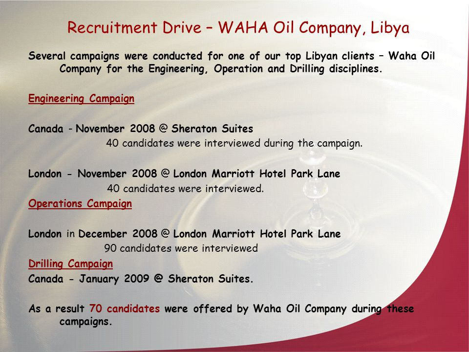 Recruitment Drive – WAHA Oil Company, Libya Several campaigns were conducted for one of our top Libyan clients – Waha Oil Company for the Engineering,