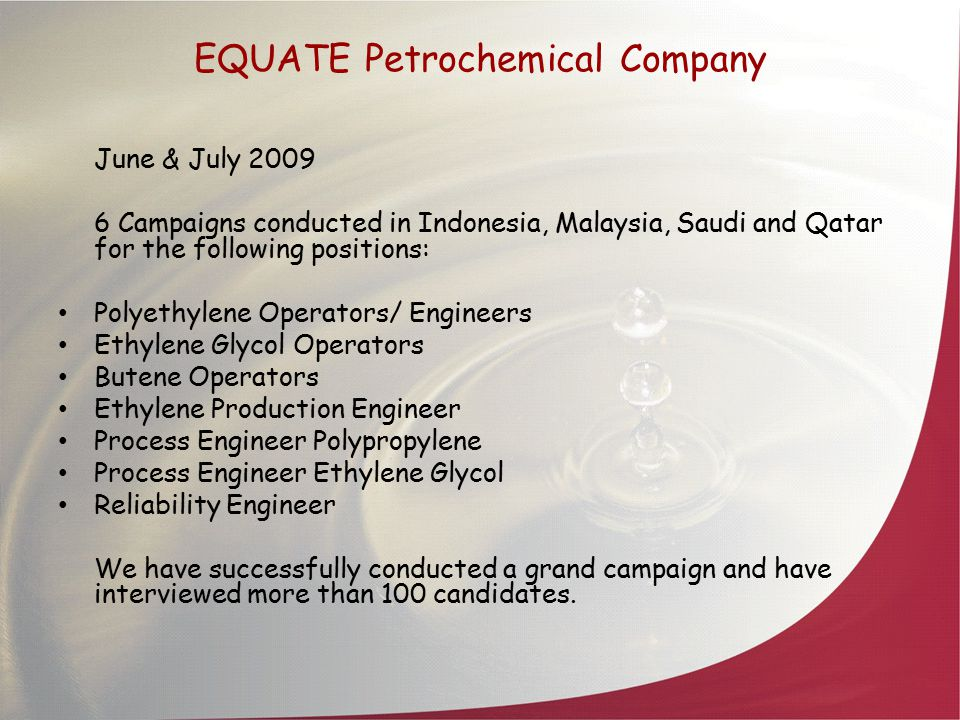 Petronas Campaigns 1.January 2009-Abu Dhabi 2.February 2009-Houston 3.March 2009-BA, Argentina 4.May 2009-New Delhi India 5.June 2009-Indonesia 6.July 2009-Dubai Positions catered to during the above campaigns: 1.Sr.
