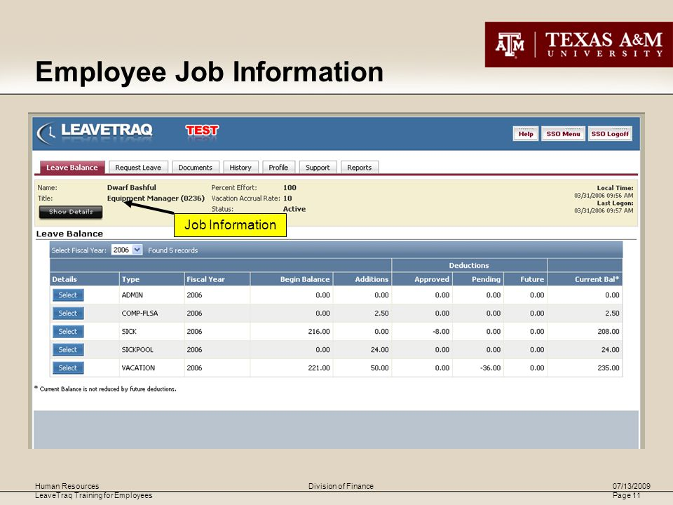 Human Resources LeaveTraq Training for Employees 07/13/2009 Page 11 Division of Finance Job Information Employee Job Information