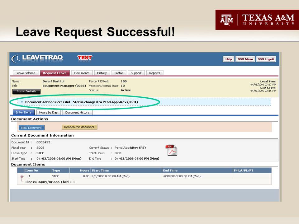 Leave Request Successful!