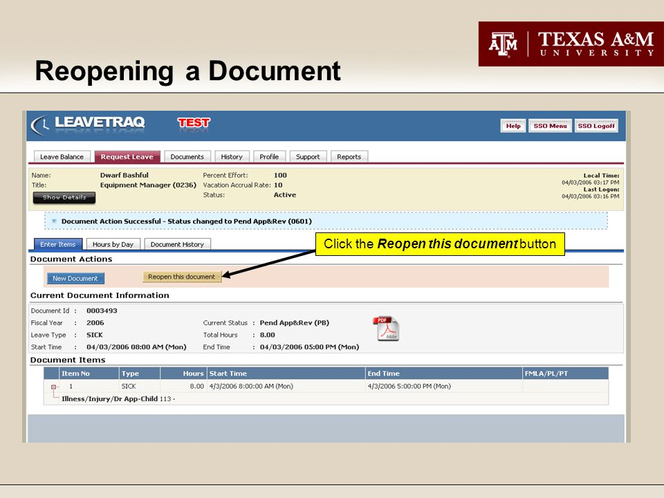 Click the Reopen this document button Reopening a Document