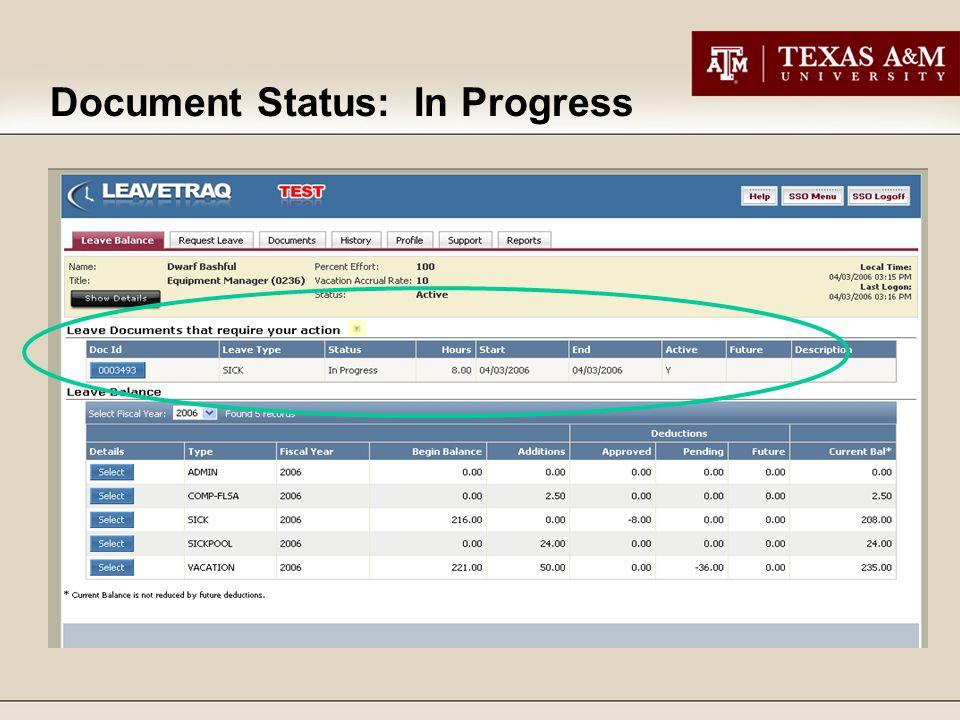 Document Status: In Progress