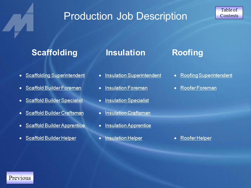 Table of Contents Previous ScaffoldingInsulation  Scaffolding Superintendent Scaffolding Superintendent  Scaffold Builder Foreman Scaffold Builder F