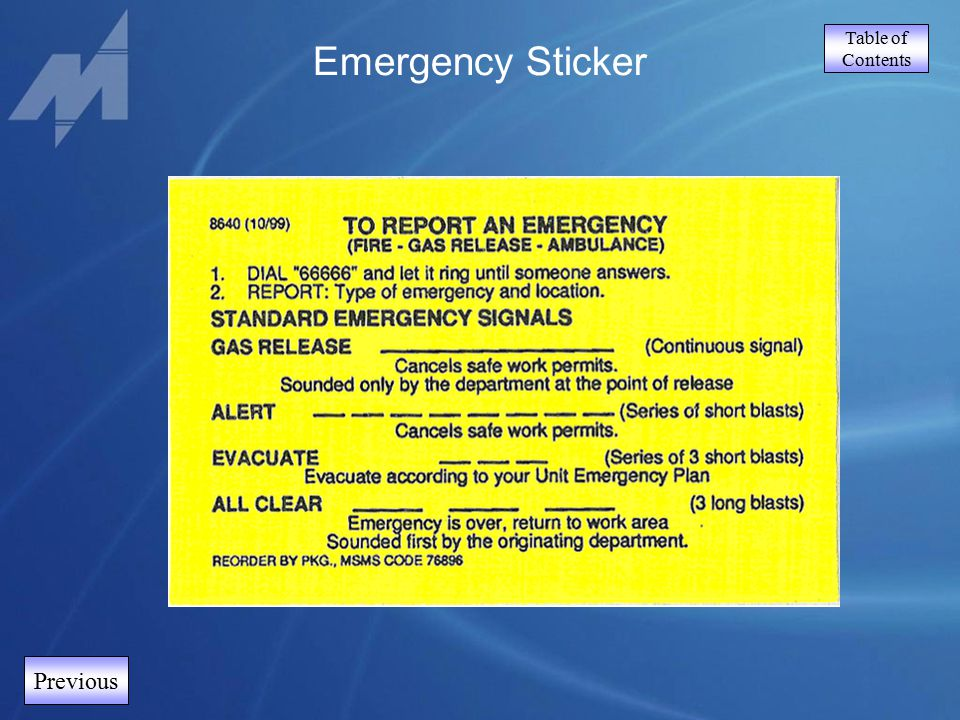 Table of Contents Previous Emergency Sticker