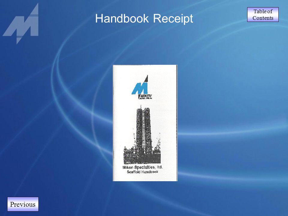 Table of Contents Handbook Receipt Previous