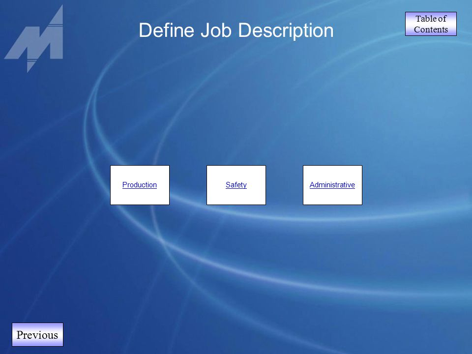Table of Contents Previous Define Job Description ProductionSafetyAdministrative