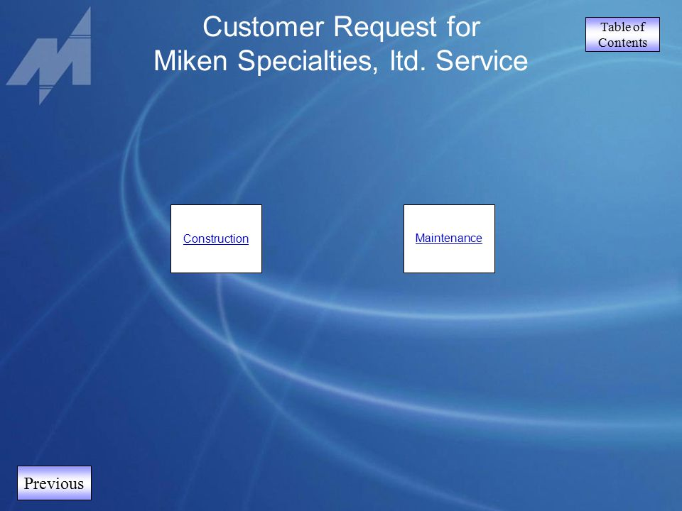 Table of Contents Customer Request for Miken Specialties, ltd. Service Previous ConstructionMaintenance