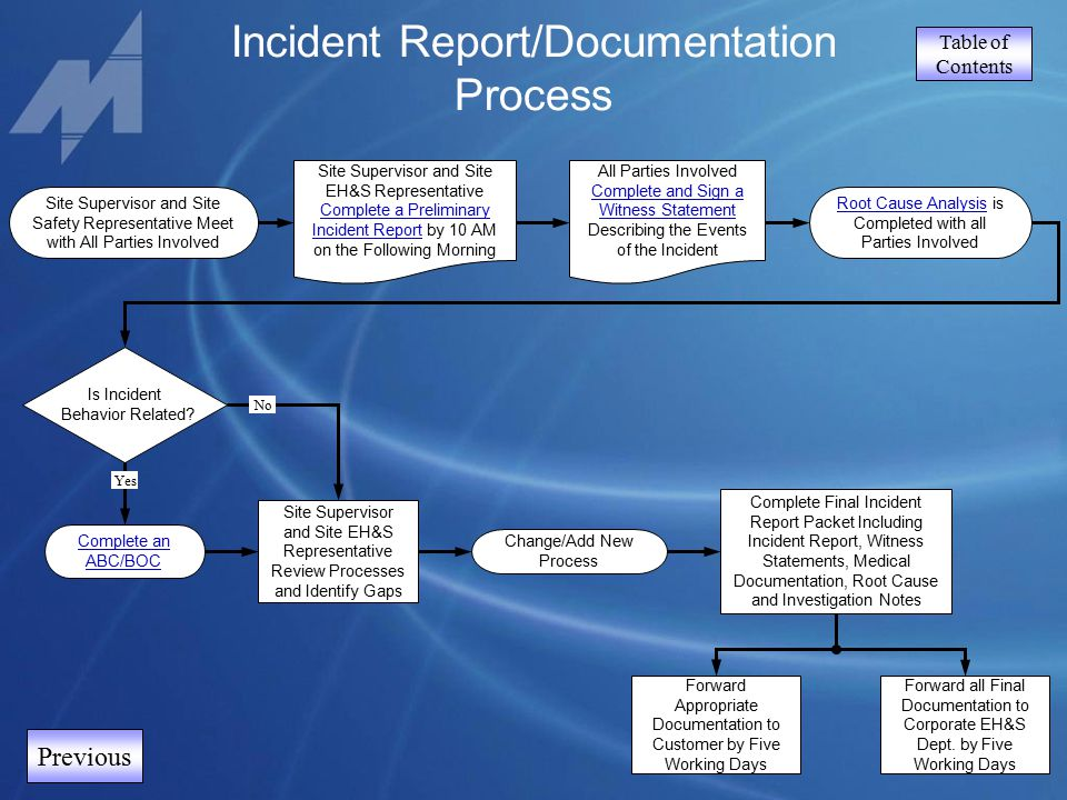Table of Contents Incident Report/Documentation Process Previous Complete Final Incident Report Packet Including Incident Report, Witness Statements,