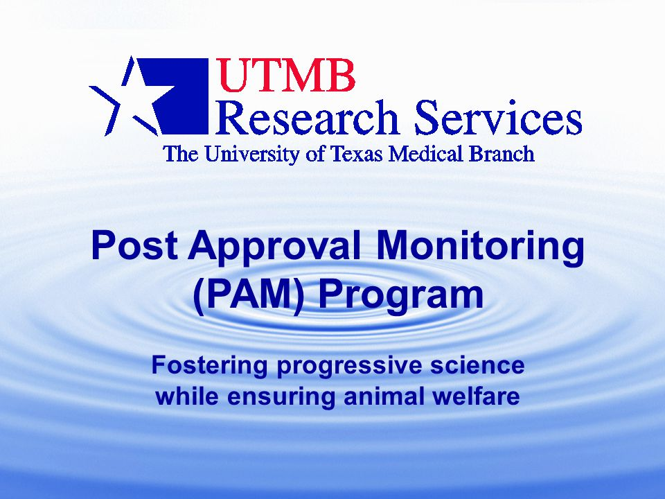 Post Approval Monitoring (PAM) Program Fostering progressive science while ensuring animal welfare