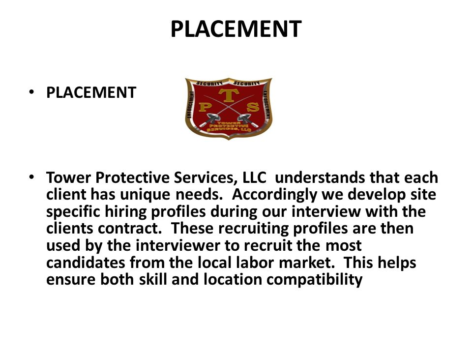 Tower Protective Services, LLC Our Command Center is a critical element to this pledge.