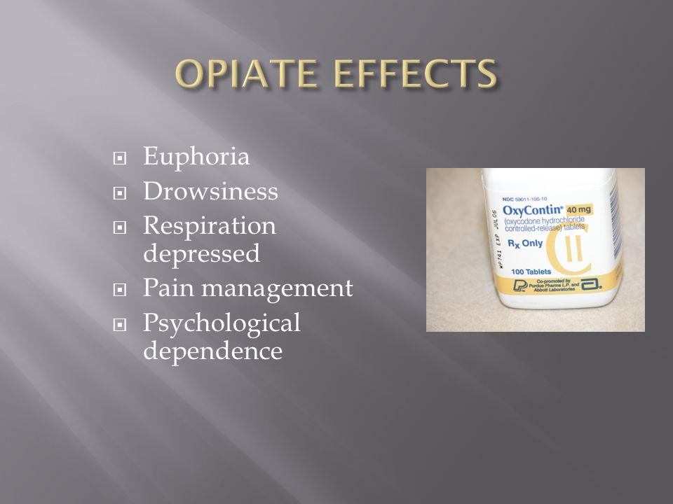  Euphoria  Drowsiness  Respiration depressed  Pain management  Psychological dependence