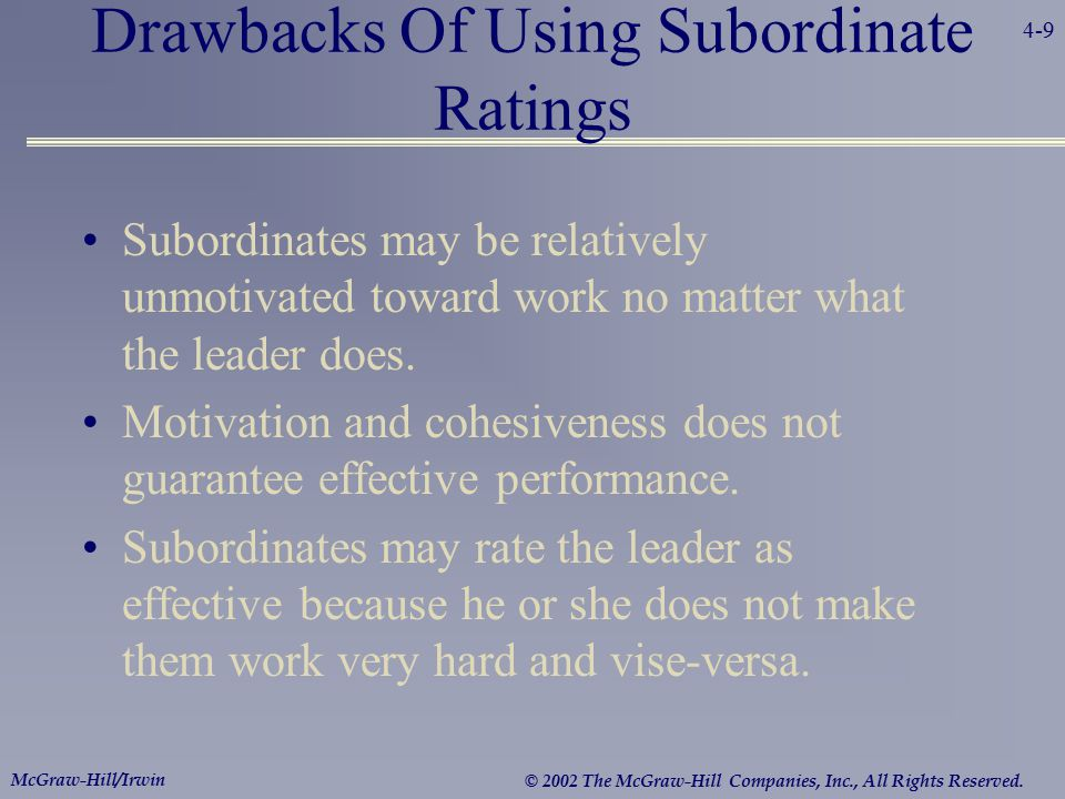 4-9 McGraw-Hill/Irwin © 2002 The McGraw-Hill Companies, Inc., All Rights Reserved. Drawbacks Of Using Subordinate Ratings Subordinates may be relative