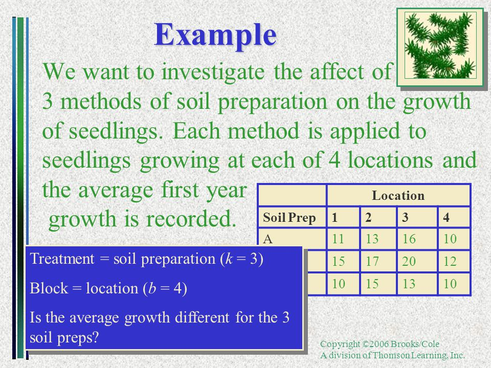 Copyright ©2006 Brooks/Cole A division of Thomson Learning, Inc.Example We want to investigate the affect of 3 methods of soil preparation on the grow