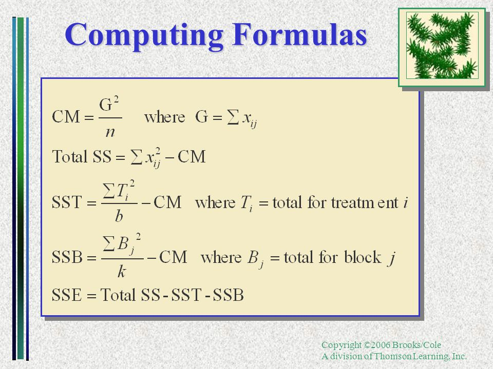 Copyright ©2006 Brooks/Cole A division of Thomson Learning, Inc. Computing Formulas