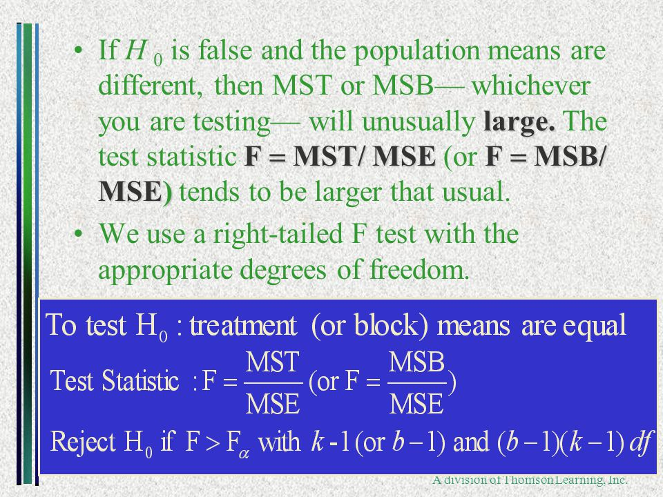 Copyright ©2006 Brooks/Cole A division of Thomson Learning, Inc. large. F  MST/ MSEF  MSB/ MSE)If H 0 is false and the population means are differ