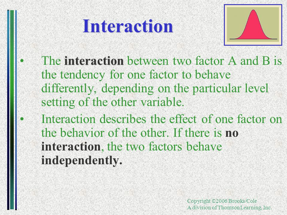 Copyright ©2006 Brooks/Cole A division of Thomson Learning, Inc. interactionThe interaction between two factor A and B is the tendency for one factor
