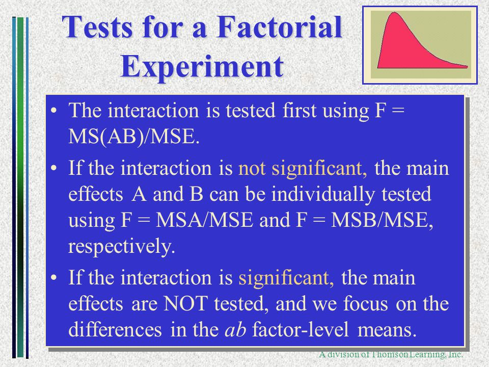 Copyright ©2006 Brooks/Cole A division of Thomson Learning, Inc. Tests for a Factorial Experiment The interaction is tested first using F = MS(AB)/MSE