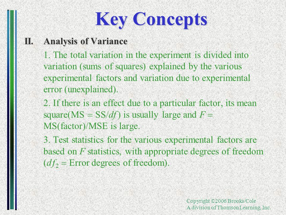 Copyright ©2006 Brooks/Cole A division of Thomson Learning, Inc. Key Concepts II.Analysis of Variance 1.The total variation in the experiment is divid
