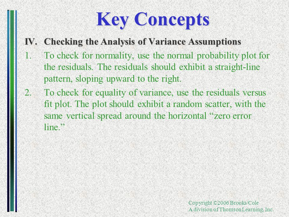 Copyright ©2006 Brooks/Cole A division of Thomson Learning, Inc. Key Concepts IV.Checking the Analysis of Variance Assumptions 1.To check for normalit