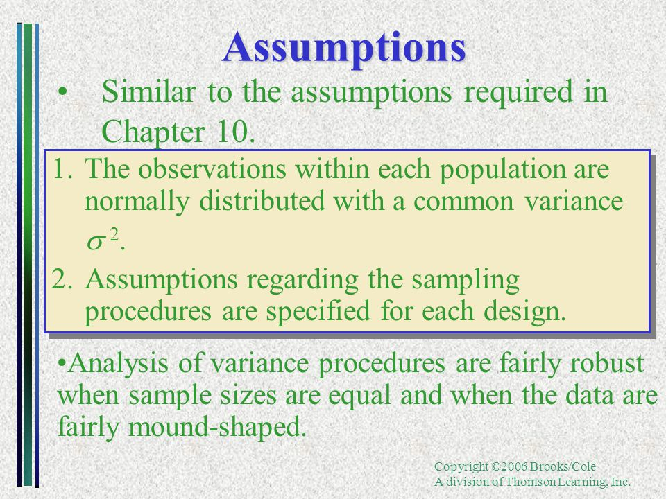 Copyright ©2006 Brooks/Cole A division of Thomson Learning, Inc.Assumptions Similar to the assumptions required in Chapter 10. 1.The observations with