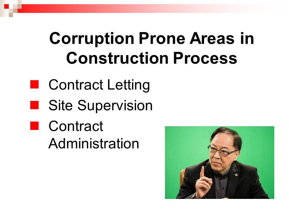 Corruption Prone Areas in Construction Process Contract Letting Site Supervision Contract Administration