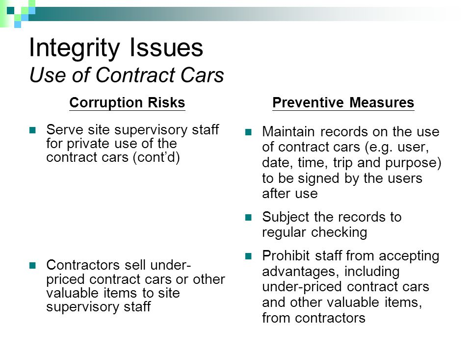 Integrity Issues Use of Contract Cars Corruption Risks Serve site supervisory staff for private use of the contract cars (cont'd) Contractors sell under- priced contract cars or other valuable items to site supervisory staff Preventive Measures Maintain records on the use of contract cars (e.g.