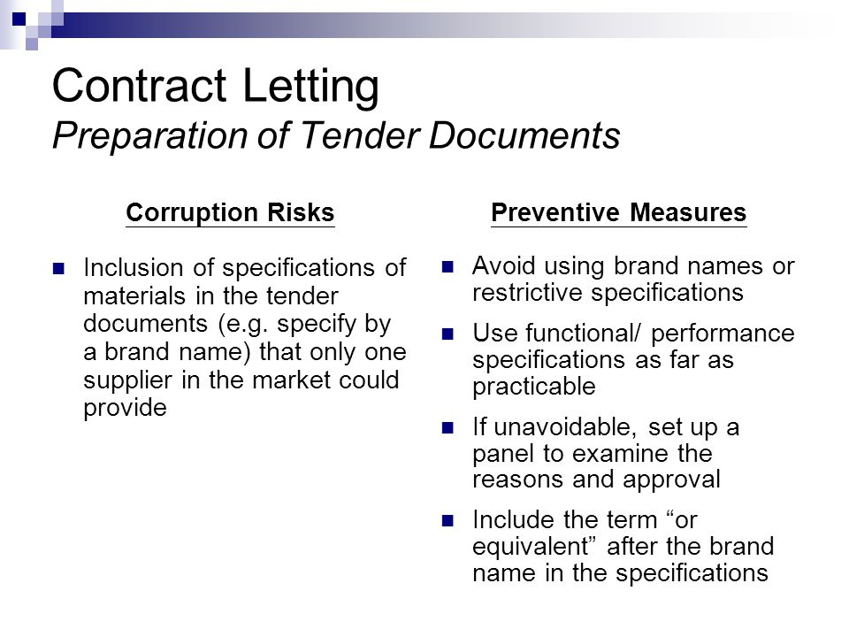 Contract Letting Preparation of Tender Documents Corruption Risks Inclusion of specifications of materials in the tender documents (e.g.