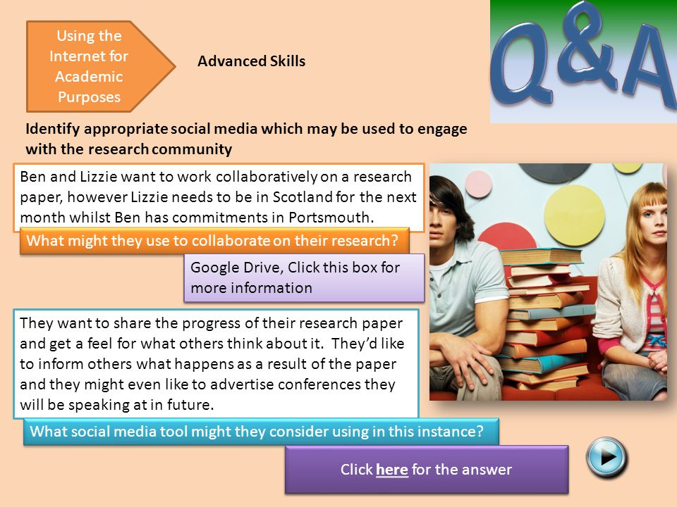 Click here for the answer Identify appropriate social media which may be used to engage with the research community Using the Internet for Academic Pu