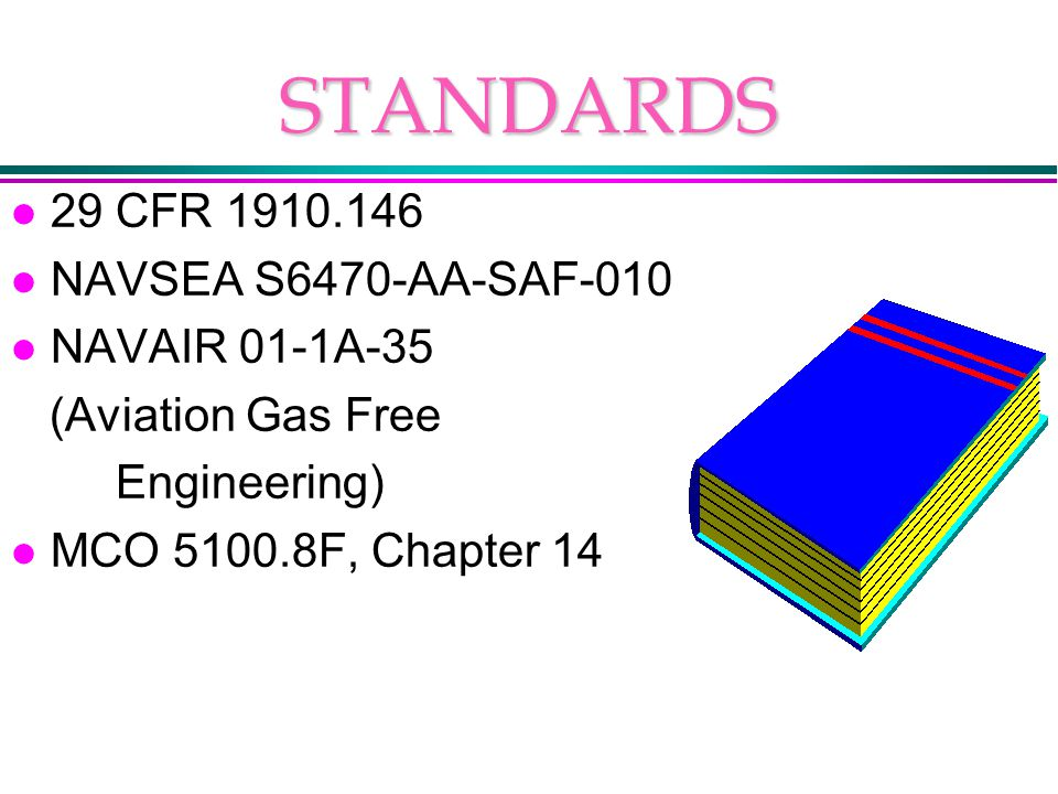 STANDARDS l 29 CFR 1910.146 l NAVSEA S6470-AA-SAF-010 l NAVAIR 01-1A-35 (Aviation Gas Free Engineering) l MCO 5100.8F, Chapter 14