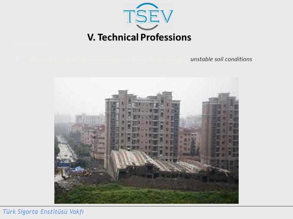 V. Technical Professions Real Claims Whole building collapse in Shanghai – due to faulty design & unstable soil conditions