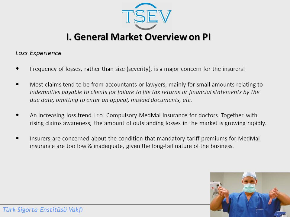 I. General Market Overview on PI Loss Experience Frequency of losses, rather than size (severity), is a major concern for the insurers! Most claims te