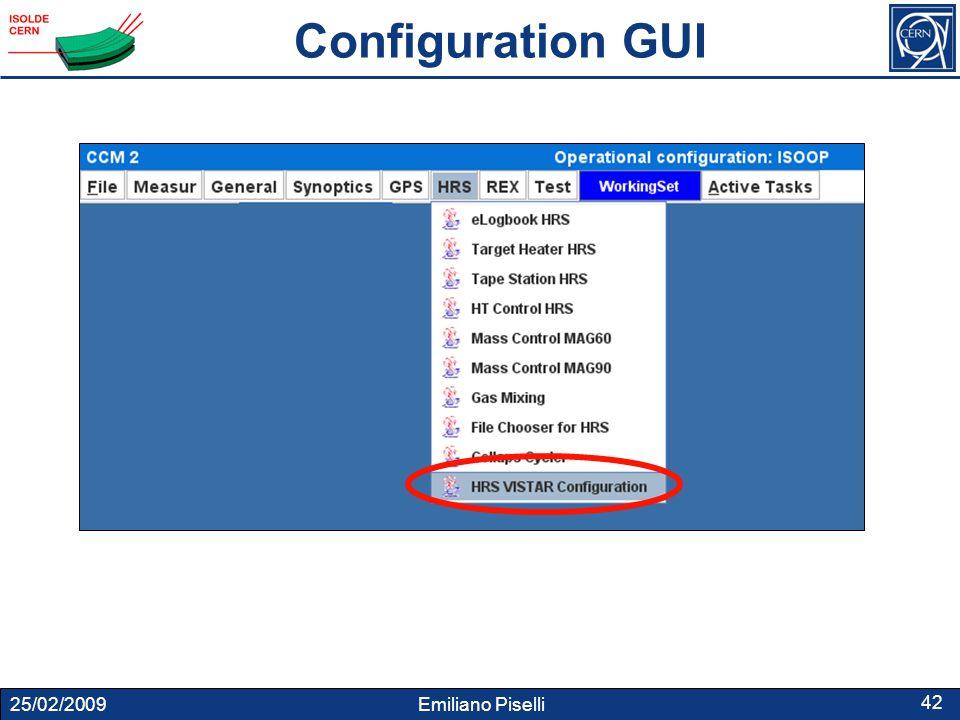 25/02/2009 Emiliano Piselli 42 Configuration GUI