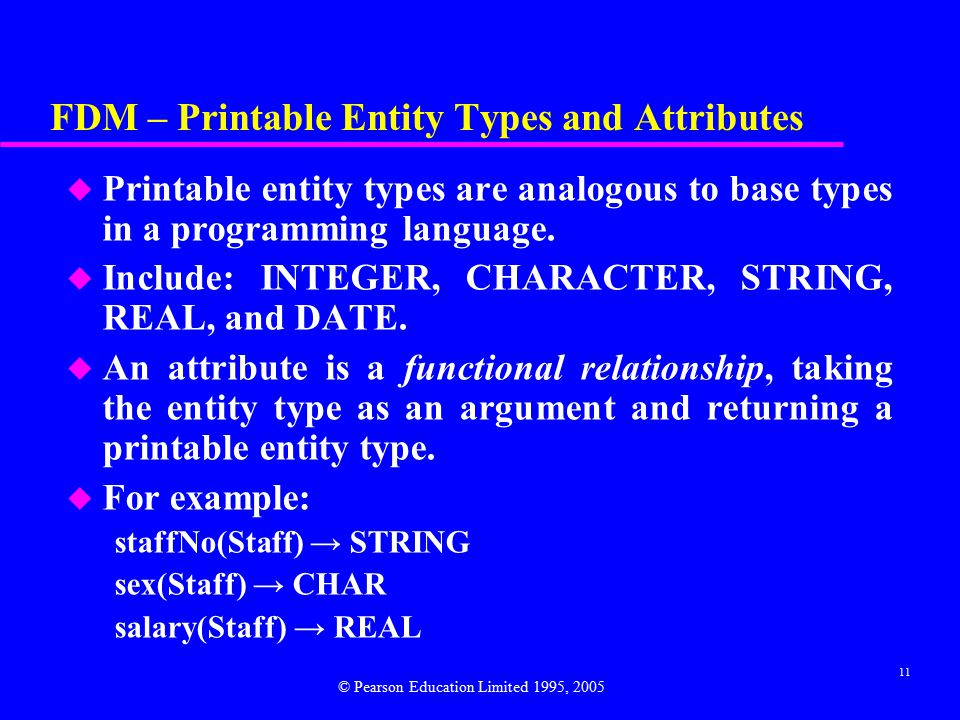11 FDM – Printable Entity Types and Attributes u Printable entity types are analogous to base types in a programming language.