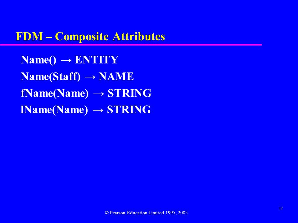 12 FDM – Composite Attributes Name() → ENTITY Name(Staff) → NAME fName(Name) → STRING lName(Name) → STRING © Pearson Education Limited 1995, 2005