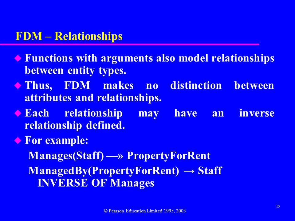 13 FDM – Relationships u Functions with arguments also model relationships between entity types.
