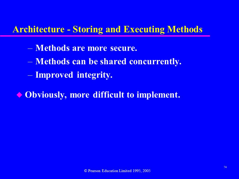 74 Architecture - Storing and Executing Methods –Methods are more secure.