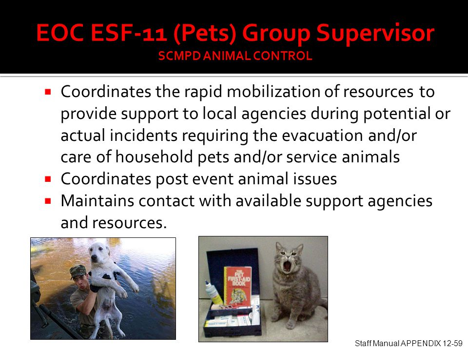  Coordinates the rapid mobilization of resources to provide support to local agencies during potential or actual incidents requiring the evacuation and/or care of household pets and/or service animals  Coordinates post event animal issues  Maintains contact with available support agencies and resources.