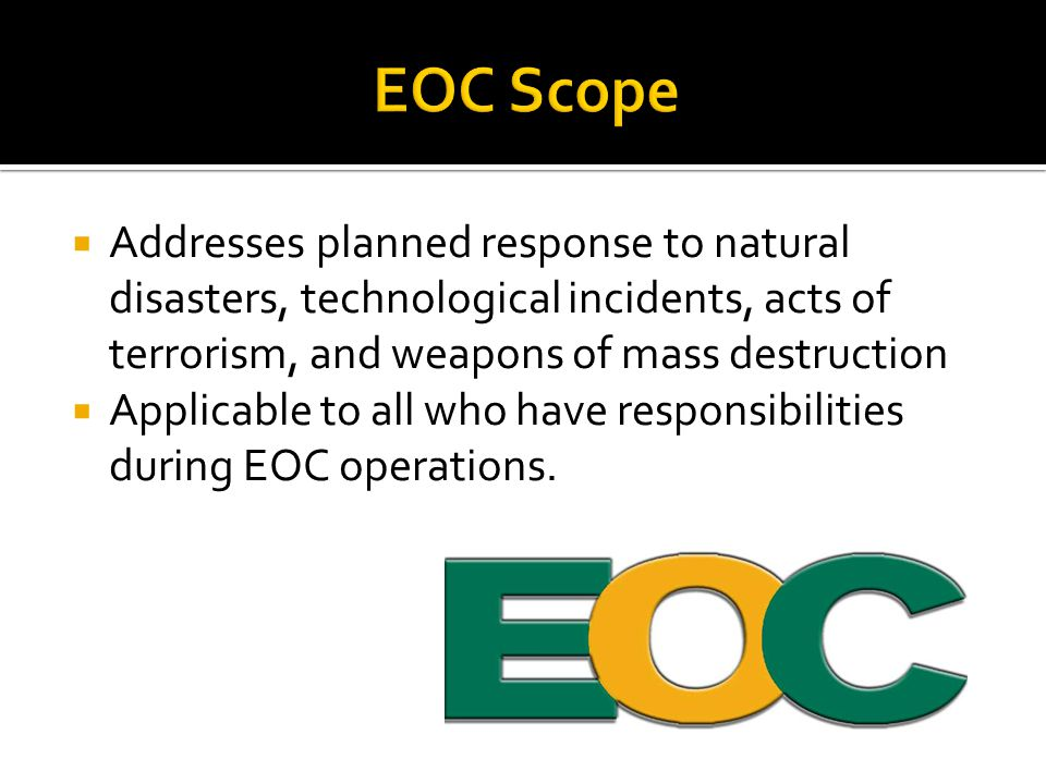  EOC Command Staff  EOC General Staff  EOC Functional Staff.