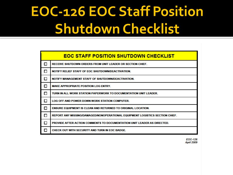 EOC-126 EOC Staff Position Shutdown Checklist
