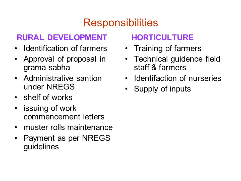 Responsibilities RURAL DEVELOPMENT Identification of farmers Approval of proposal in grama sabha Administrative santion under NREGS shelf of works issuing of work commencement letters muster rolls maintenance Payment as per NREGS guidelines HORTICULTURE Training of farmers Technical guidence field staff & farmers Identifaction of nurseries Supply of inputs